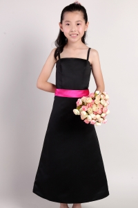 Straps Black Ankle-length Taffeta Sash Flower Girl Dress