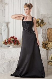 Black Straps Bridesmaid dresses Satin Beading Train