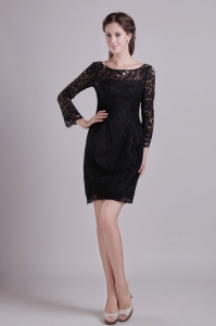 Black Sleeves Short Lace Mother of the Bride Dreses
