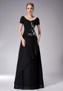 Black Appliques Mother Of The Bride Dress Chiffon