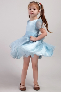 Blue Little Girl Dress Scoop Knee-length Organza Bowknot