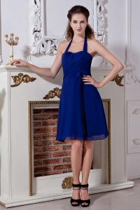 Knee-length Blue Halter Chiffon Bow Bridesmaid dresses