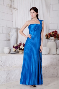 Royal Blue One Shoulder Pleat Bridesmaid Dress Taffeta