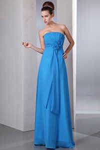 Blue Hand Made Flowers Bridesmaid Dress Ruch Chiffon