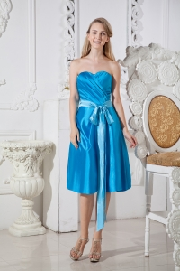 Blue Ruch Bows Chief Bridesmaid Dresses Sweetheart Taffeta