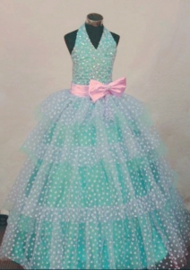 Turquoise and White Haltered Beaded Little Girl Pageant Dresses