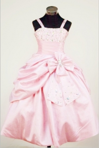 Bowknot Straps Girl Pageant Dresses Baby Pink Beaded