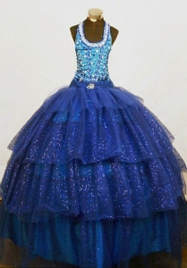 Sequined Halter Top Little Girl Dress Beaded Blue