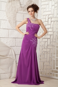 Purple One Shoulder Appliques Mother Of Bride Dresses