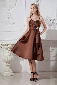 Brown Spaghetti Straps Bridesmaid Dresses Ruched Satin
