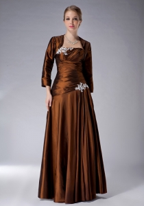 Appliques Brown Ruched Mothers Dresses Taffeta Jacket