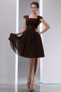 Brown Square Knee-length Bridesmaid dresses Chiffon Beading