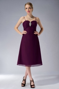 Burgundy Spaghetti Straps Beaded Mother Of Bride Dress