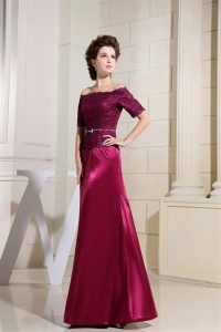 Burgundy Mothers Dress for Wedding Off Shoulder Short Sleeves