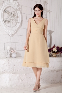 Champagne V-neck Junior Bridesmaid Dresses Chiffon Ruch