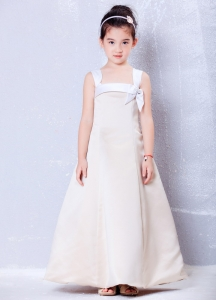 Champagne Square Ankle-length Bows Flower Girl Dress