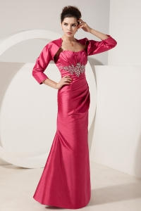 Coral Red Satin Beading Mother Of Bride Dress Jacket