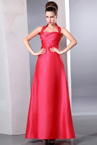 Coral Red Halter Ruch Bridesmaid Dresses Taffeta