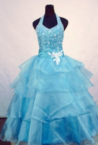 Halter Beading Little Girl Pageant Dresses Light Blue