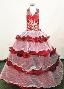 White and Red Halter Top Little Girl Pageant Dress
