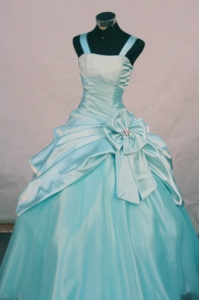 Aqua Blue Little Girl Pageant Dresses Hand Made Flowers