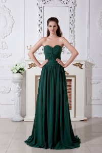 Dark Green Bridesmaid Dress Ruch Brush Chiffon