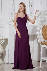 Dark Purple One Shoulder Bridesmaid Dresses Chiffon Train