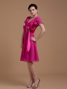 Fuchsia Prom / Homecoming Dress Bowknot Short Sleeves