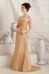 Gold Mother Of Bride Dress Brush Train Satin Beaded