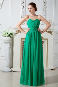 Sweetheart Ruch Green Bridesmaid of Honor Dress Chiffon