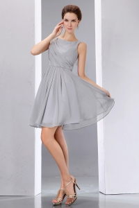 Bridesmaid dresses Grey Bateau Knee-length Chiffon Ruch