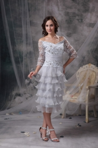 Off The Shoulder Mother Of Bride Dress Grey Sleeves