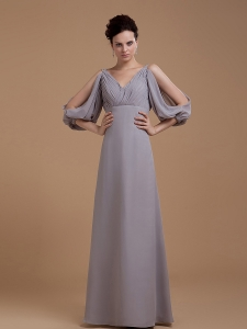 V-neck 3/4 Length Sleeves Grey Mother Of The Bride Dress
