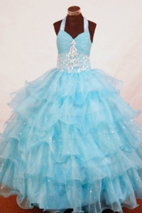 Aqua Blue Haltered Appliques Little Girl Pageant Dresses