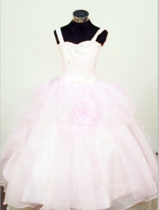 Organza Beading Straps Flowers Little Girl Pageant Dress