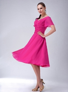 Hot Pink V-neck Short Sleeves Mother-in-law Dresses Chiffon