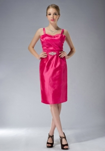 Straps Mother of the Bride Dress Hot Pink Beading Taffeta