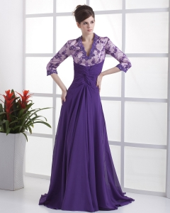 V-neck 3/ 4 Sleeves Purple Brush Train Lace Prom Dress