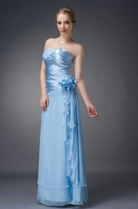 Flowers Mother of Bride Dress Light Blue Chiffon Ruch