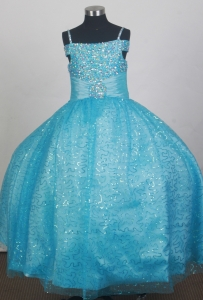 Light Blue Sequin Flower Girl Dress Spaghetti Straps