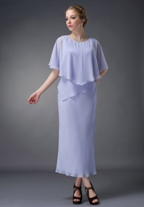 Lilac Sleeves Mother Of The Bride Dress Scoop Chiffon