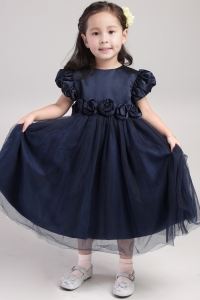 Navy Blue Scoop Tea-length Flower Girl Dress