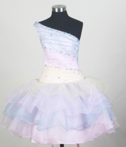 Colorful Ruffled Lil Girl Pageant Dresses Beaded Shoulder