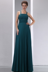 Bridesmaid dresses Peacock Green Straps Chiffon Pleat