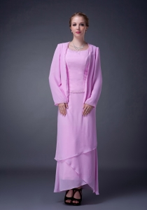 Mother Of The Bride Dress Pink Scoop Ankle-length