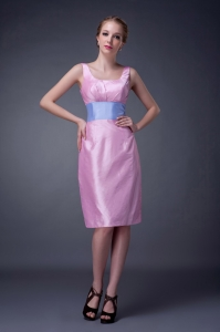 Pink Mother of The Bride Dress Scoop Knee-length Sashes