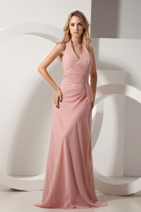 Pink Junior Bridesmaid Dress Halter Brush Train Ruch