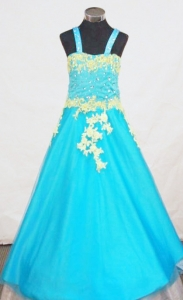 Aqua Blue Strap Little Girl Pageant Dresses Appliques