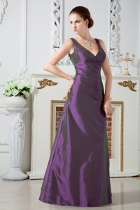 V-neck Taffeta Purple Chief Bridesmaid Dress Ruching