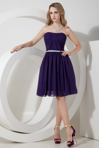 Purple Bridesmaid Dresses Knee-length Ruch